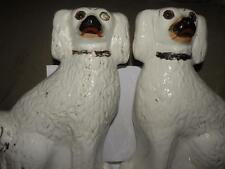 "PAIR ANTIQUE STAFFORDSHIRE DOGS SPANIELS FIGURINES 12.50"" TALL"