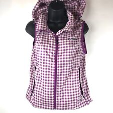 Womens Columbia Omni Shield Vest Top Layer Hood Lilac Checked Small UPF30 NWOT