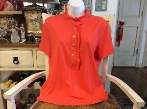 Tory Burch Women's Large Orange Lidia Ruffle Short Sleeve Button Polo Top Shirt
