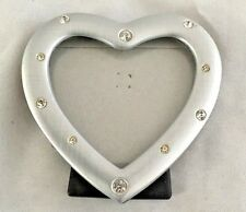 "Silvertone Rhinestone 3 1/4 Heart Picture Frame Holds 2 1/2"" Photo"