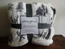 EDDIE BAUER Ultra SOFT BLACK CREAM FLEECE SHERPA Lodge CABIN Full QUEEN BLANKET