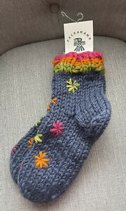 PACHAMAMA FLORAL CHUNKY KNITTED WINTER SOCKS NEW