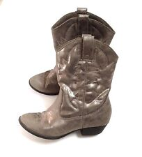 Girls SMARTFIT Silver Pewter Gray Metallic Cowboy Western Boots Size Youth 3.5