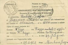 Lettera Abbonamento Radioaudizioni Denuncia di Cambiamento Indirizzo Pizzo 1952
