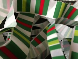 FUNKY GREEN / RED / WHITE STRIPE RIBBON - VARIOUS WIDTHS - CRAFT BOWS PARTY XMAS