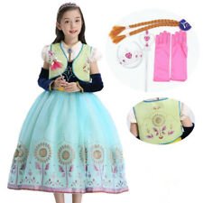 Kids Girl Anna Princess Dress Halloween Anna Cosply Costume Party Carnival Dress