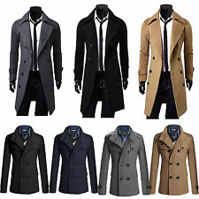 Men's Gent Double Breasted Slim Fit Trench Coat Long Jacket Outwear Overcoat UK