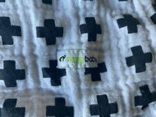 "New ListingZiggy Baby Cotton Muslin Black Swiss Cross White Swaddling Blanket 44"""