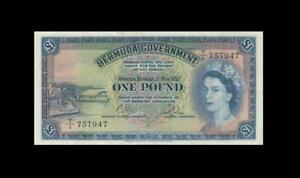 "1957 BRITISH COLONY BERMUDA 1 POUND QEII ""T/1"" (( EF ))"