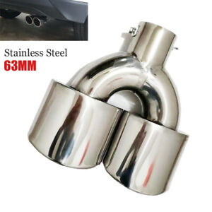 2.5''/ 63MM Universal Car Dual Exhaust Muffler Tail Pipe Tip Stainless Steel