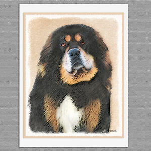 6 TIbetan Mastiff Dog Blank Art Note Greeting Cards