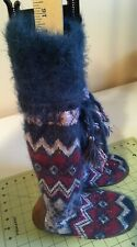 New Women's Sz Small 5/6 Unique design Muk Luks Tall Sweater Slipper Boot