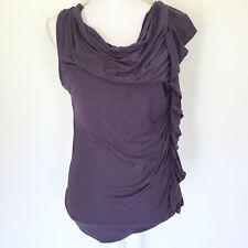 Cynthia Rowley Top Sz Large Shirt Purple Ruched Ruffle Ladies
