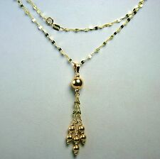 14k solid yellow gold 20 inches long round ball sparkly necklace 2.2gram
