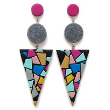 Triangle Big Colorful Huge Fashion Color Block Statement Long Earrings Jewelry