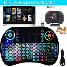 2.4G Mini Backlit Wireless Keyboard Mice Touchpad For Android Smart TV Box Black