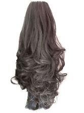 """Ponytail Claw Clip Light Ash Brown Curly 22"""" Heat Resistant Synthetic Hairpiece"""