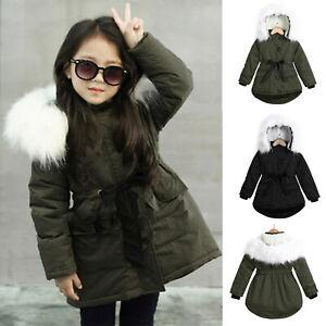 Winter Toddler Baby Girls Fur Hooded Padded Coat Kids Long Thick Warm Jacket