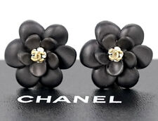 CHANEL Camellia Button Earrings Black & Gold & Rhinestone w/BOX
