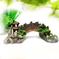 New Aquarium Ornament House Mountain View Pavilion Tree Cave Bridg Fish Tank