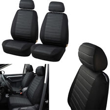 Car 2 Front Seats Cover Set Durable Jacquard Cloth Black+Grey Airbag Compatible