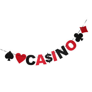 Fun Casino Poker Card Suits USD Sign Bunting Banner Party Club Hanging Decor