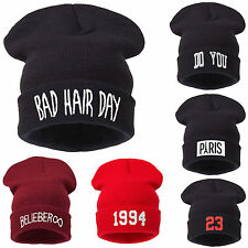 Mens Ladies Knitted Woolly Winter Oversized Red Beanie Hat Cap skateboard