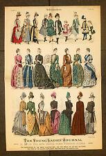 THE YOUNG LADIES JOURNAL 1888 ORIGINAL GRAVURE SUR BOIS 64x43cm de PARIS mode fashion