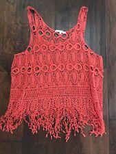 Active Allover Boho Hippie Crochet Medallions Sleeveless Orange Cami Top Sz S