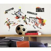 New MEN SOCCER CHAMPION WALL DECALS Men's Sports Stickers Boys Bedroom Decor