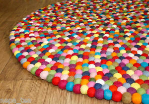 Size 120 cm bright pom pom felt balls nursery round Area rug Home Office Decor