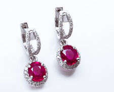 Gorgeous $11,225 2.00ctw 100% Natural No Heat Red Ruby & Diamond 14K WG Earrings