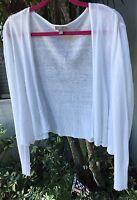 J. JILL sz M White Linen Blend Lightweight Knit Open Cardigan Sweater NWOT