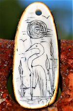 Scrimsaw of Florida Egret bird in wetland handmad signed Pony Boy  CHARM Pend dd