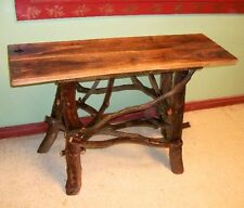 Rustic Tree Wood Console Sofa Table Log Cabin Art Walnut Furniture FREE S/H