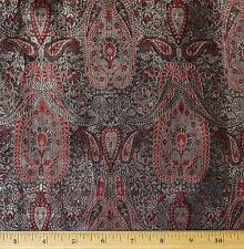 "Red/Gold/Black Brocade Silk/Rayon/Metallic Fabric, 44"" Wide By The Yard (JD-393)"