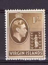 British Virgin Islands 1/-  single, GeorgeVI SG117 Olive-Brown chalk hinged .