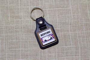 Bedford CF Keyring - Leatherette & Chrome Keytag