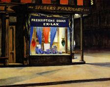 Hopper Edward Drug Store Canvas 16 x 20    #4697