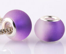 5pcs SILVER MURANO purple jelly spacer beads fit European Charm Bracelet A938