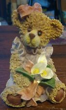"""Home Decoration Resin Teddy Bear Figurine in Purple Dress with Flower Bouquet 4"""""""