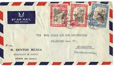 ADEN 1946 Aden CAMP CDs TYING K GEORGE VI ISSUES ON AIR MAIL COVER TO CZECHOSLOV