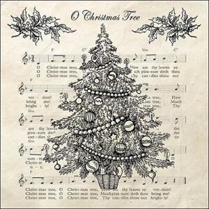 4 individual Christmas Tree & musical notes decoupage napkins, scrapbooking
