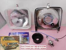 Faro anteriore quadrato dx=sx Ford Transit MK2 dal 1978-1982 con lampada H4 12 V