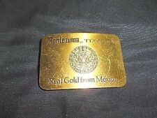 "VINTAGE MONTEZUMA TEQUILA "" REAL GOLD FROM MEXICO"" SOLID BRASS BELT BUCKLE"