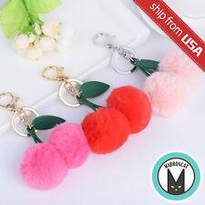 US Cute Cherry Faux Fur Ball PomPom Key Chain Ring holder Keychain Handbag Charm