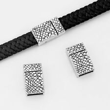 5Sets Antique Silver 10*2mm Flat Strong magnetic Clasp Fit 5mm 10mm Leather Cord