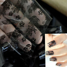 Chic 3D Lace Flower Pattern Nail Art Stickers Black Manicure Nail Decals Tips