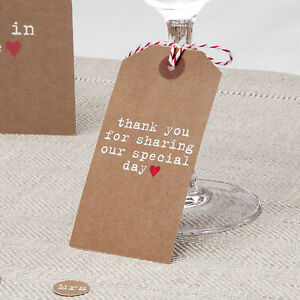 10 LUGGAGE TAGS Brown JUST MY TYPE Vintage Stationery NAPKIN CUTLERY Thank You