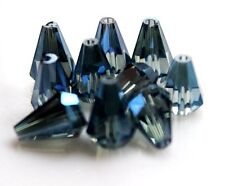 Perfect Faceted Cone Body Glass Black Crystal Loose Spacer Beads 10x14mm 10Pcs